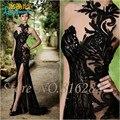 De alta Calidad Negro Sexy Side Dividir Largo Vestido de Noche de La Sirena Halter de Tulle Appliques Sin Mangas de la Cremallera Piso-Longitud de Baile Vestido