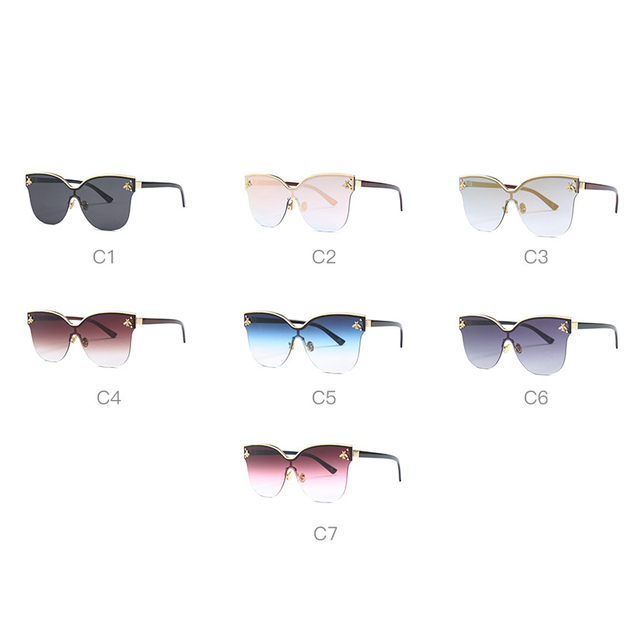 ladies Oversize Rimless Sunglasses Women 2018 Fashion Cat Eye Bee Sun Glasses Female Retro Brand Designer lentes de sol mujer 5