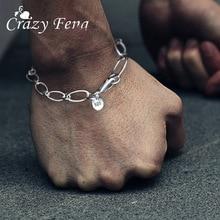 цена на Crazy Feng Korean Link Chain Classic Men Bracelet Metal Jewelry Lobster Buckle Fashion Birthday Gift oho