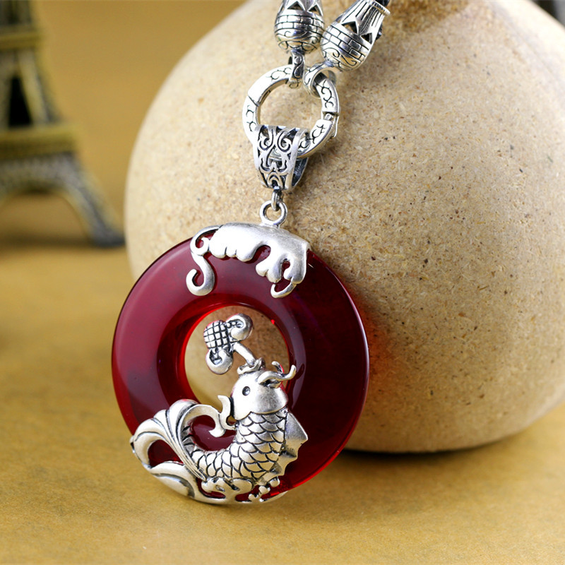 Real Pure Silver 925 Jewelry Garnet Pendant For Women With Fish Blessing Peace Amulets Pendants Jewelry