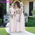Romantic 2016 Long Chiffon Lace Cap Sleeve Bridesmaid Dress Pink Open Back Maid Of Honor Party Gown vestito matrimonio damigelle
