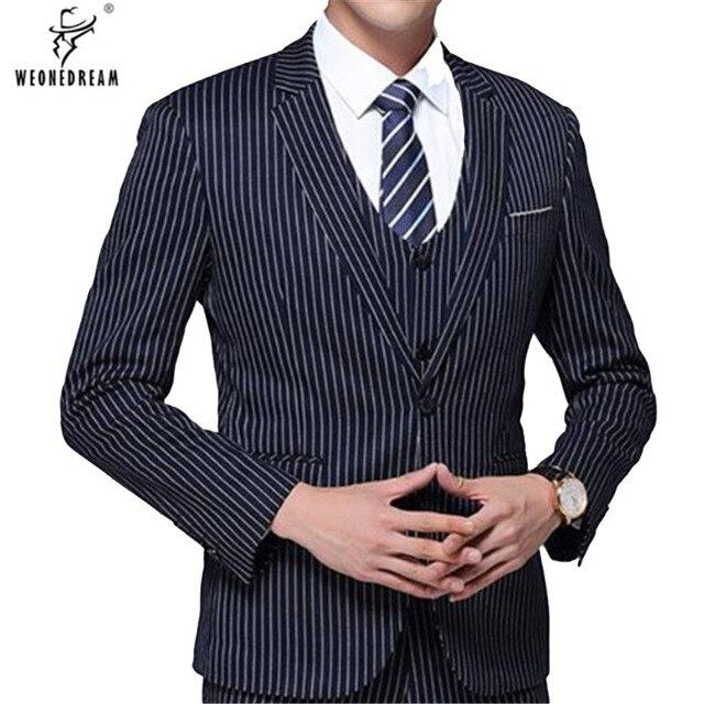 Trajes de hombre azul marino a rayas 3 piezas (chaquetas + Pantalones +  chaleco) d003e5d29779