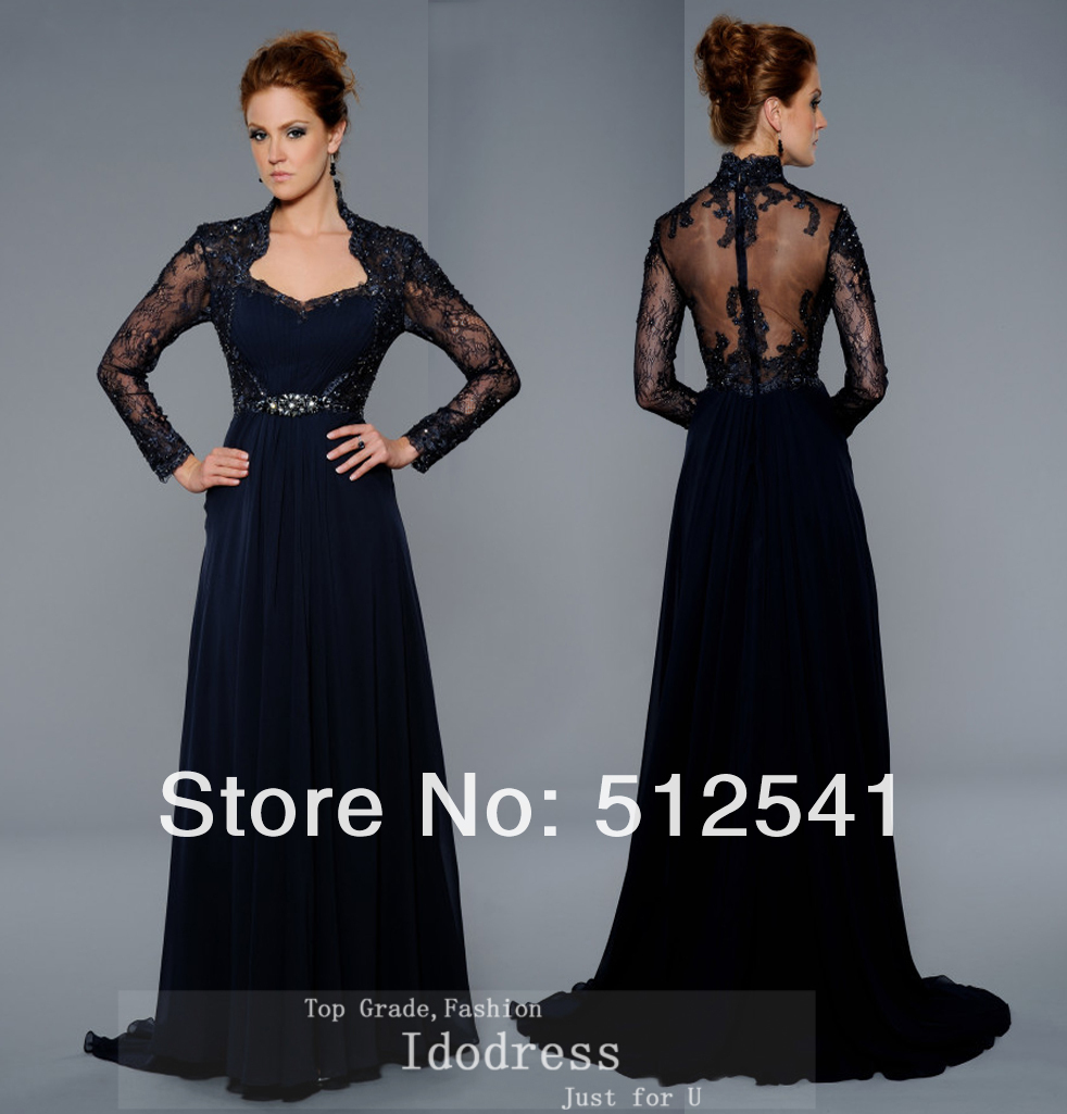 Long Sleeve mother of bridal dresses rhintestone sheer black women gown lace idodress 75.jpg
