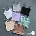 2016 New Arrival mulheres primavera sol de verão de malha - top sólido elástico Cut Off curtas Vest 7 cores
