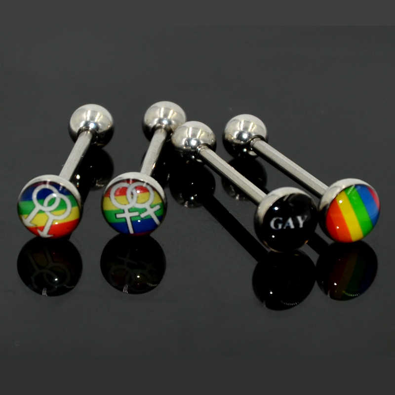 4pcs Surgical Steel Gay Pride Rainbow Logo Barbell Tongue Rings Piercing Bar Stud Body Jewelry