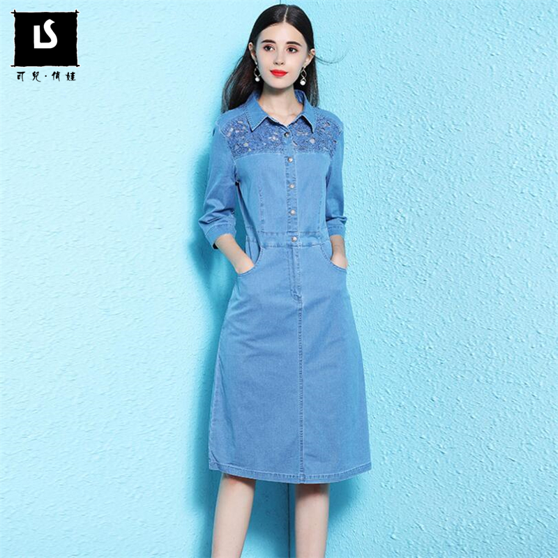 US $70.8 27% OFF|Plus size M 4XL Spring Summer Women Denim Dress 2019  Fashion Seven quarter sleeve Dress Hollow Slim Goddess Clothes Lady  Dresses-in ...