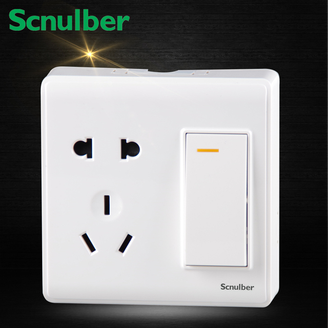 1 gang 2 way Two poles and earthing contact Socket outlet with ...
