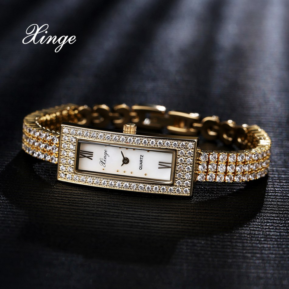 Xinge Brand Luxury Watches Women Zircon Steel Quartz Clock Ladies Fashion Business Sport Watch Gift Relogio Feminino xinge top brand luxury women watches silver stainless steel dress quartz clock simple bracelet watch relogio feminino