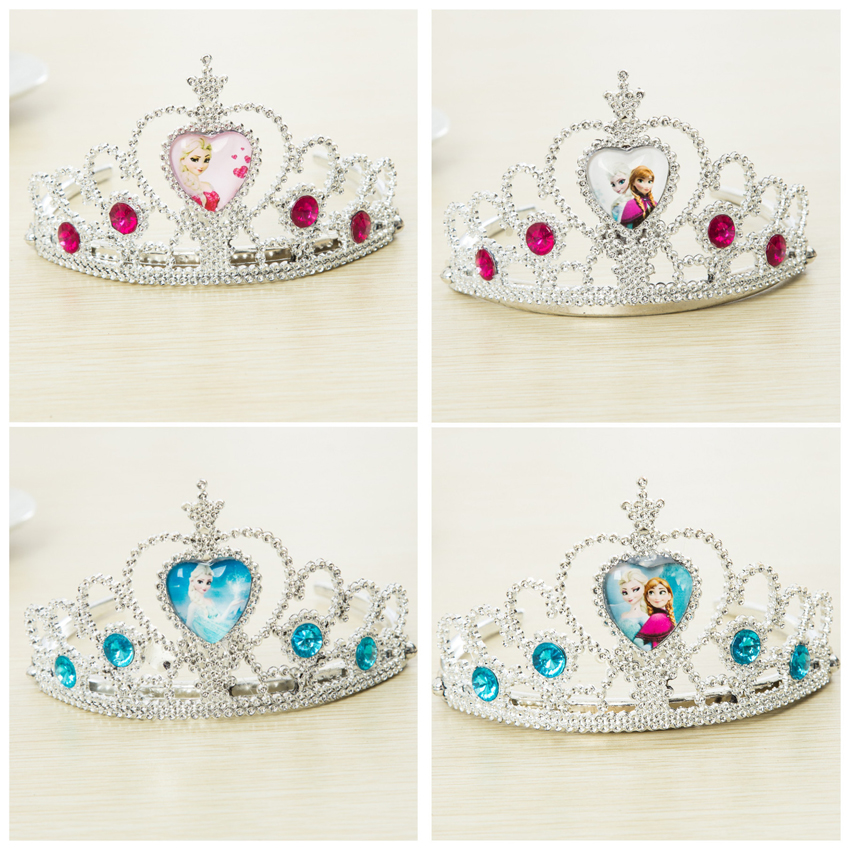 Girls Elsa Cosplay Toy Princess Hair Accessories Cartoon Character Pattern Crown Crystal Diamond Tiara Hoop For Kids Toy
