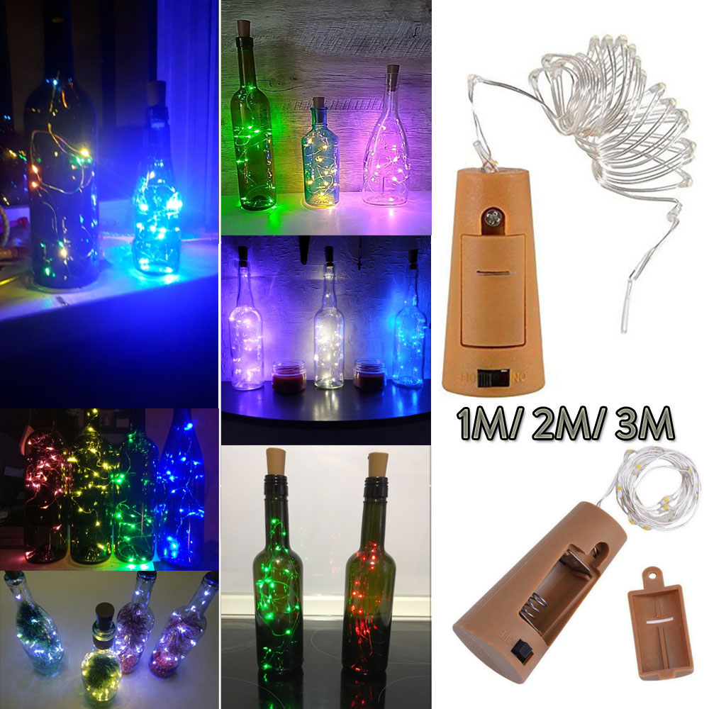 1M 2M 3M 10 20 30LEDs Silver Wire Fairy Garland Bottle Stopper For Glass Craft LED String Lights Christmas Holiday Decoration