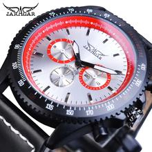 цена на Jaragar Mechanical Men's Automatic Watch Classic Calendar Watches Black Red Genuine Leather Strap Wristwatch Clock Montre Homme