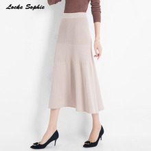 1pcs Elastic Hight waist Women A-line skirts 2019 Autumn  Knitted cotton Splicing stripe Pleated Long skirt Ladies Skinny