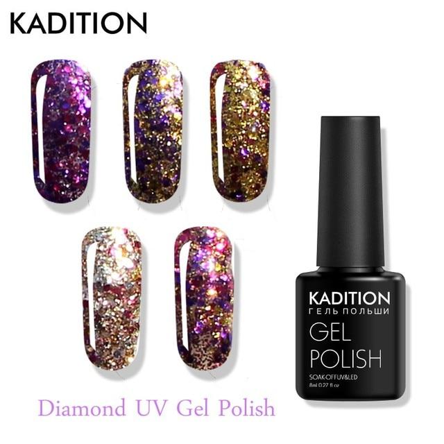 KADITION Diamond Nail Gel 8ml Shining Gel Nail Polish Primer UV Gellak Sequins Shining Diamond Glitter Poly Gel Varnish Nail Art