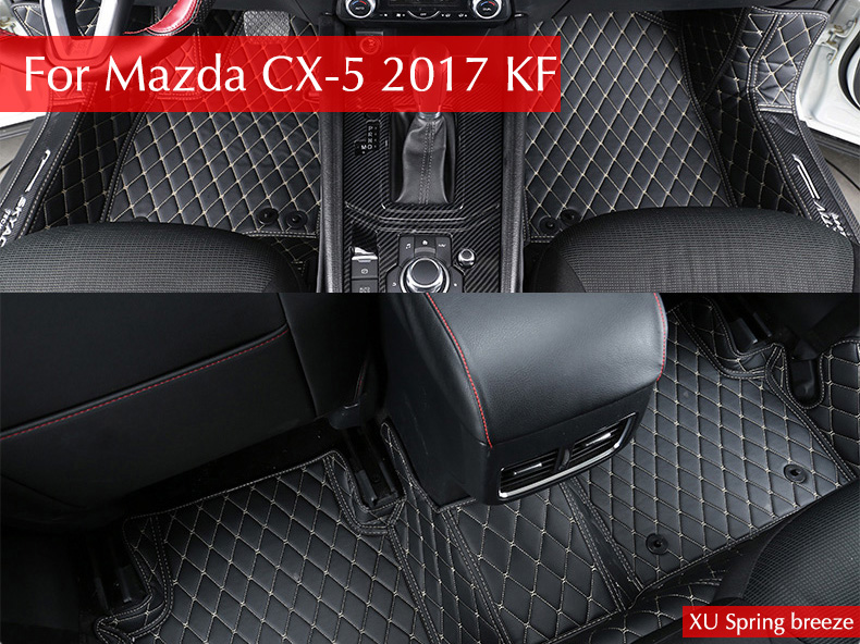 For Mazda CX-5 CX5 2017 2018 KF LHD Car Floor Foot Mat Pat Waterproof Dustproof Interior Decoration Car styling for mazda cx 5 cx5 2017 2018 2nd gen lhd auto at gear panel stainless steel decoration car covers car stickers car styling