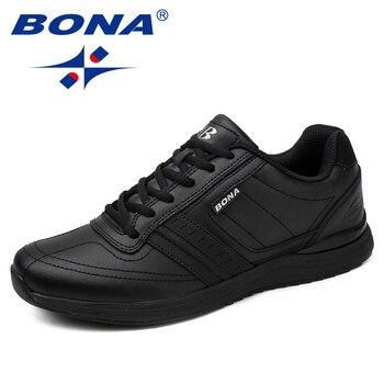 BONA nowy popularny styl mężczyźni obuwie zasznurować wygodne buty mężczyźni miękka lekka podeszwa Hombre darmowa wysyłka