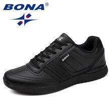 BONA yeni popüler tarzı erkek rahat ayakkabılar Lace Up rahat ayakkabılar erkekler yumuşak hafif taban Hombre ücretsiz kargo