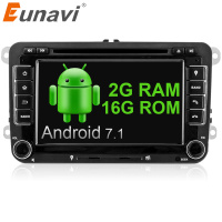 Eunavi 2 Din Gps Quad Core Android 7 1 Car Dvd Player TV For VW Skoda