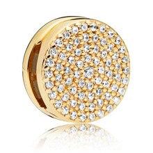 925 Sterling Silver Bead Shine Dazzling Elegance Clip Charm Fit Original Pandora Reflexions Bracelet for Women DIY Jewelry Gift