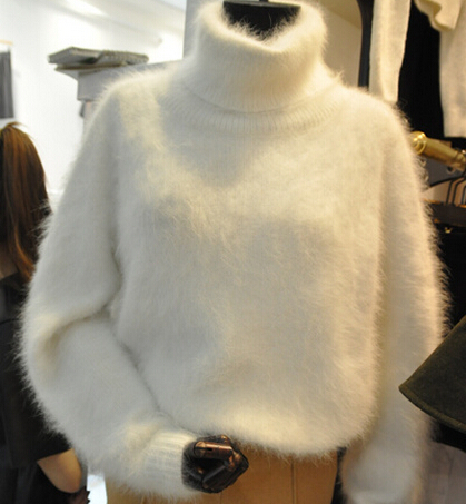 Winter Thick Warm Mink Cashmere Sweater Women Oversized Turtleneck ...