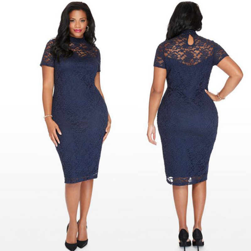 New Elegant Large Size Lace Dresses Navy Blue Floral Lace Sleeved Fit and Flare  Curvy Dress 9ecaf7b1bb84