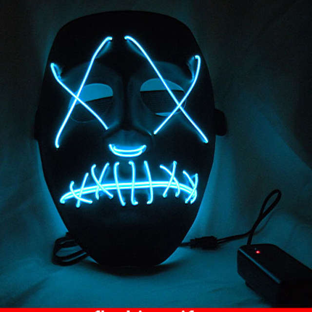 Halloween Funny light up glowing PVC mask EL wire Vendetta mask ...