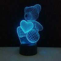 사랑 심장 곰 3D 분위기 램프 홈 장식 새로운 새해 파티 호의 아이 침실 LED 터치 환상 밤