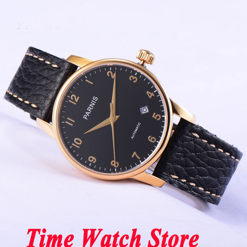 Parnis 38mm black dial golden hands and marks date sapphire glass MIYOTA Automatic movement  Mens watch 582 watches womenParnis 38mm black dial golden hands and marks date sapphire glass MIYOTA Automatic movement  Mens watch 582 watches women