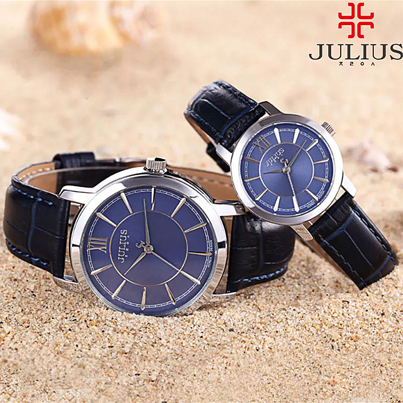 Julius Women's Watch Men's Couple Watch Japan Quartz Hours Simple Business Leather Bracelet Birthday Lovers Boy's Girl Gift