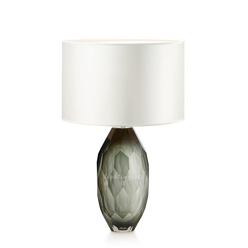 DX moderne Led lampe de Table design éclairage verre coupe Surface lumière chevet chambre tissu abat-jour blanc gris vert lustre