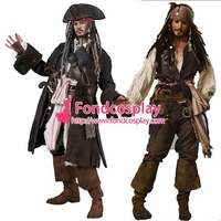 Пираты Карибского моря Джек костюм Джека Воробья Johnny Depp Moive косплей на заказ [G1427]