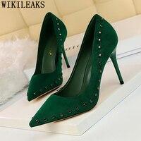 Зеленые модельные туфли на каблуке женские свадебные туфли на высоком каблуке дизайнерская обувь для невесты роскошные женские туфли лодо