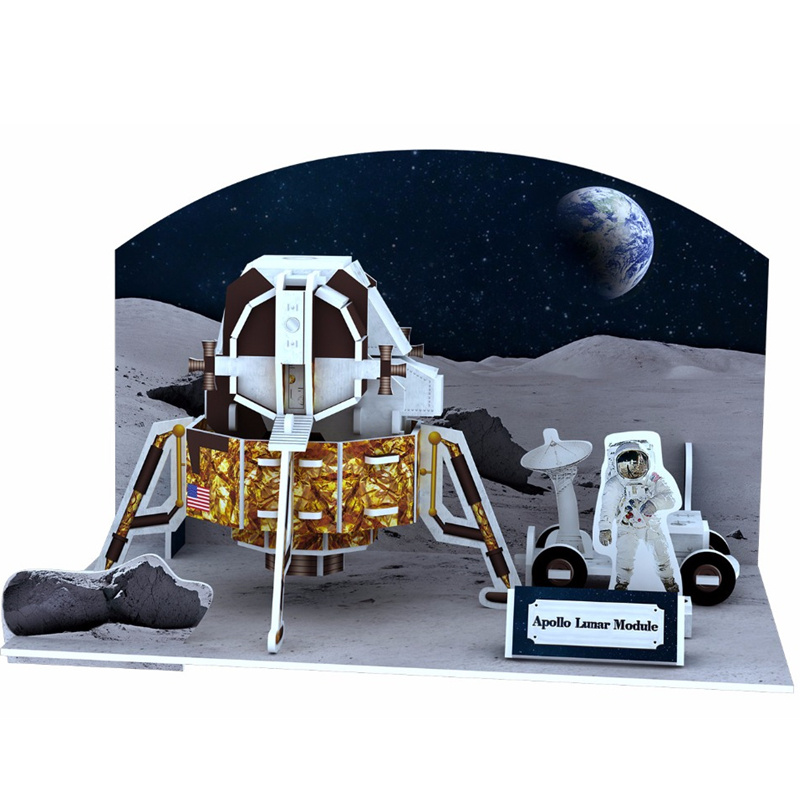Classic 3D Jigsaw Puzzle Apollo Moon Rocket Aerospace Space Solar System Construction Brick Toys Scale Model Sets Building Paper