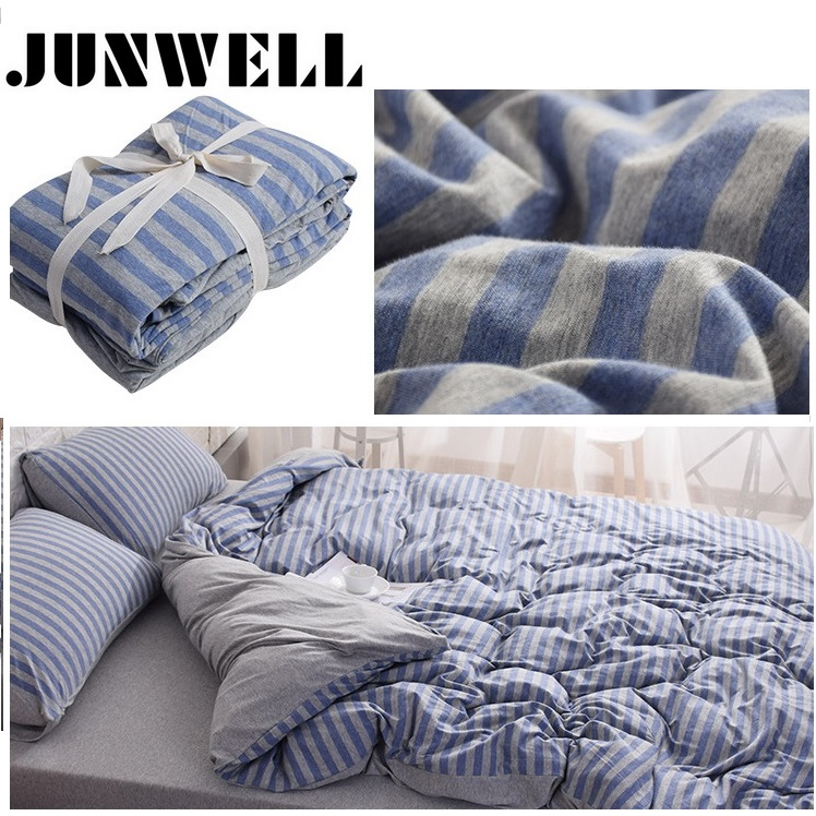 3PCS Set Duvet Cover Set 100% Garnfarvet Cotton Jersey Quilt Cover Japansk Style Stripe Design
