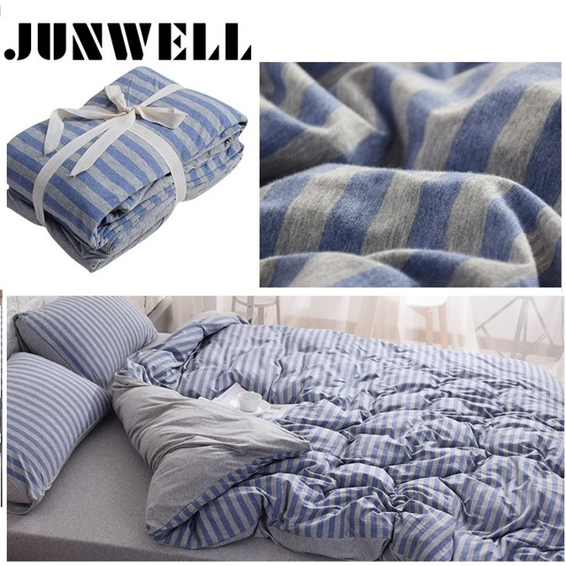 3pcs Set Duvet Cover 100 Yarn Dyed Cotton Jersey Quilt Anese Style Stripe