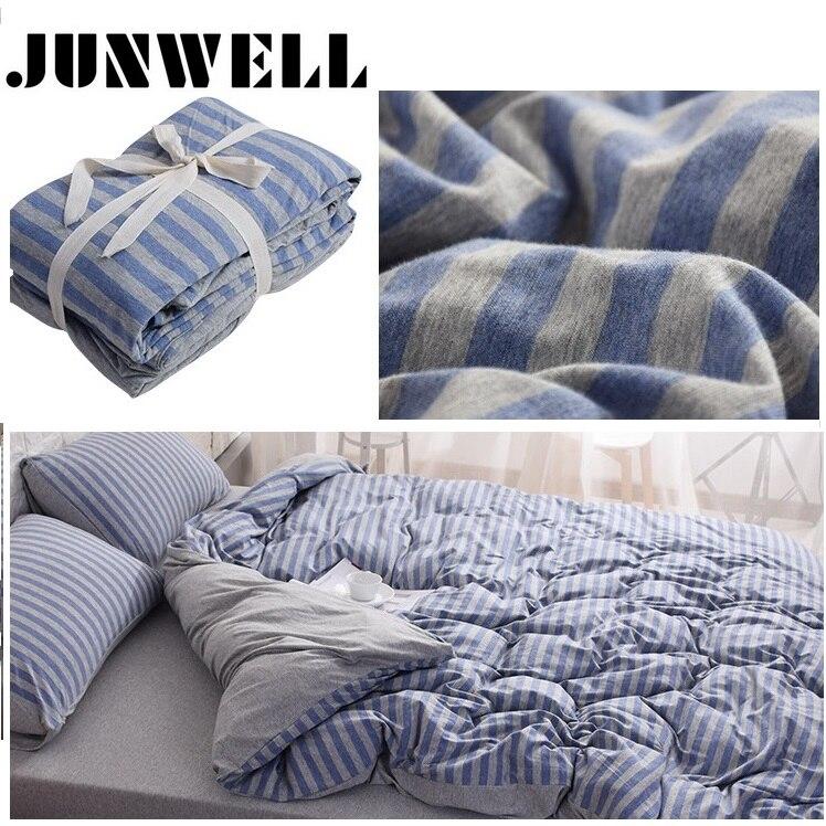 3PCS Set Duvet Cover Set 100% Yarn dyed Cotton Jersey Quilt Cover Japanese Style Stripe Design