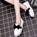 New Flats Women Four Seasons 2017 Casual Bowtie Rain Shoes Women Flat Heels Fashion soft Leather Round Toe Flat Women Shoes