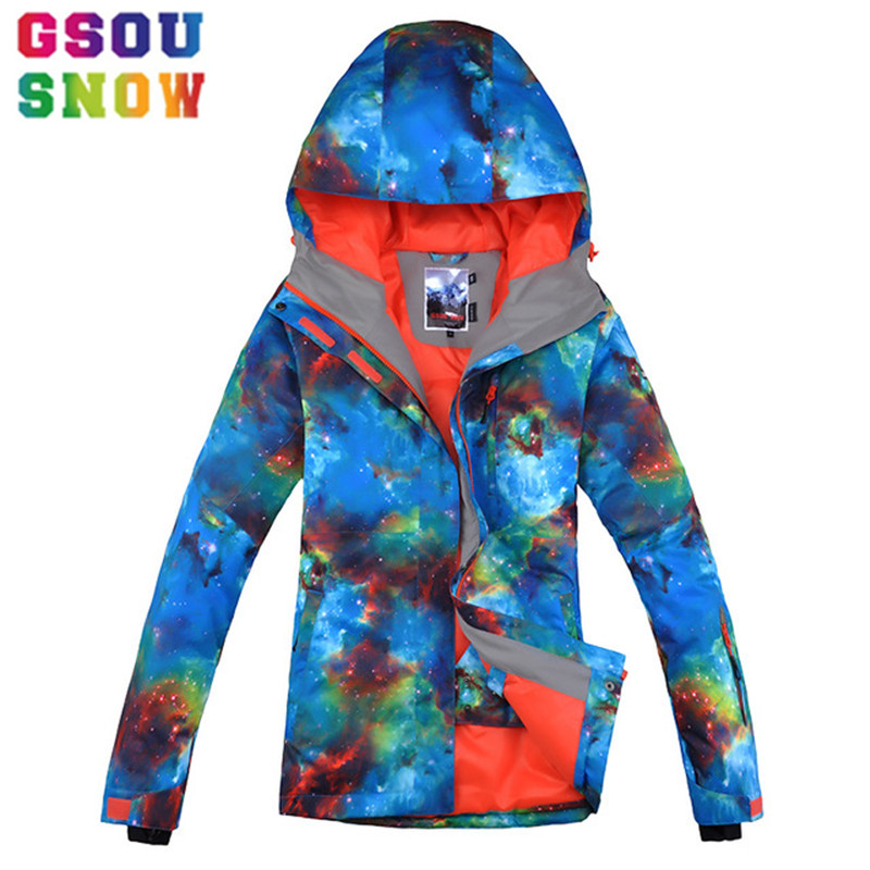 GSOU SNOW Brand Ski Jacket Women Snowboard Jacket Winter Waterproof Outdoor Skiing Suit Snowboarding Snow Clothing Sports Coat gsou snow ski jacket pants women ski suit waterproof snowboard jacket pants snowboard sets high quality skiing snowboarding suit