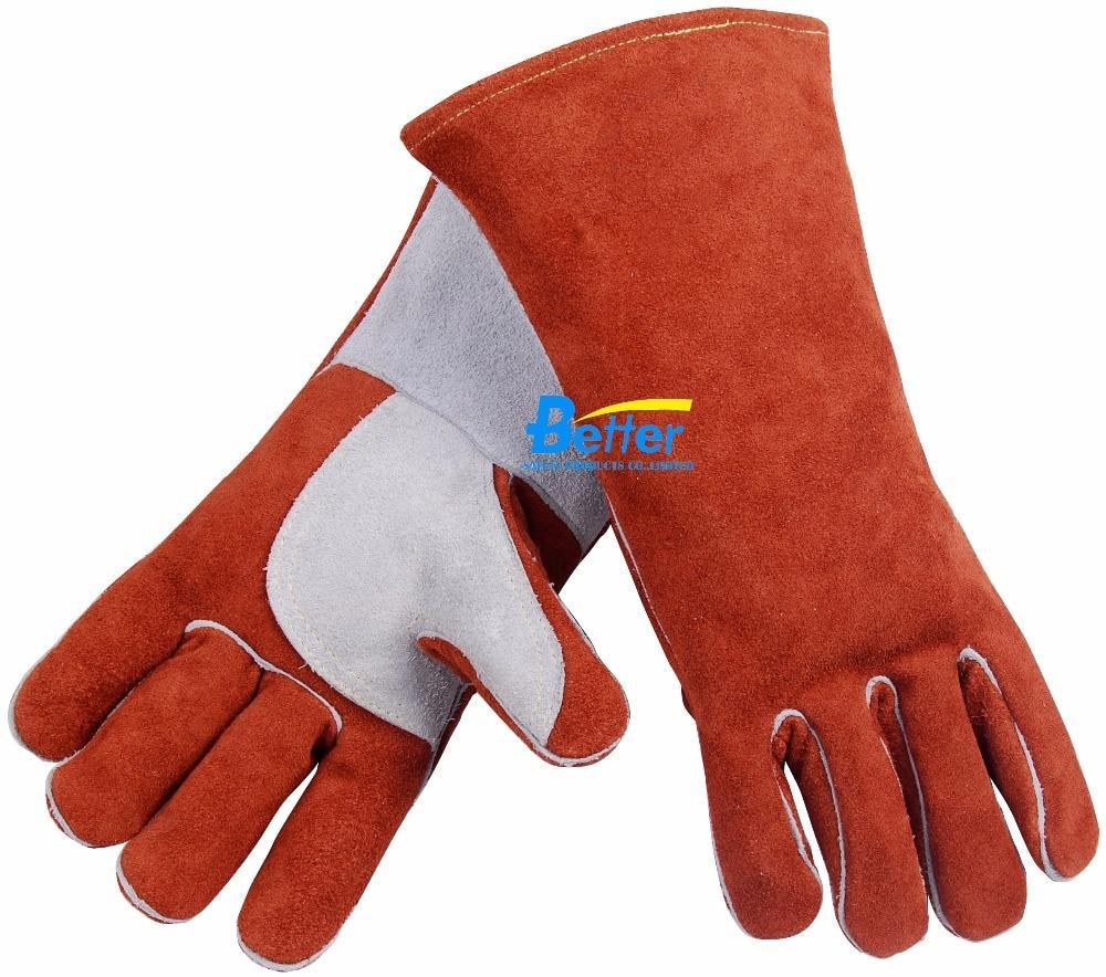 Leather work gloves for welding - Welder Safety Glove Split Cow Leather Welding Work Glove