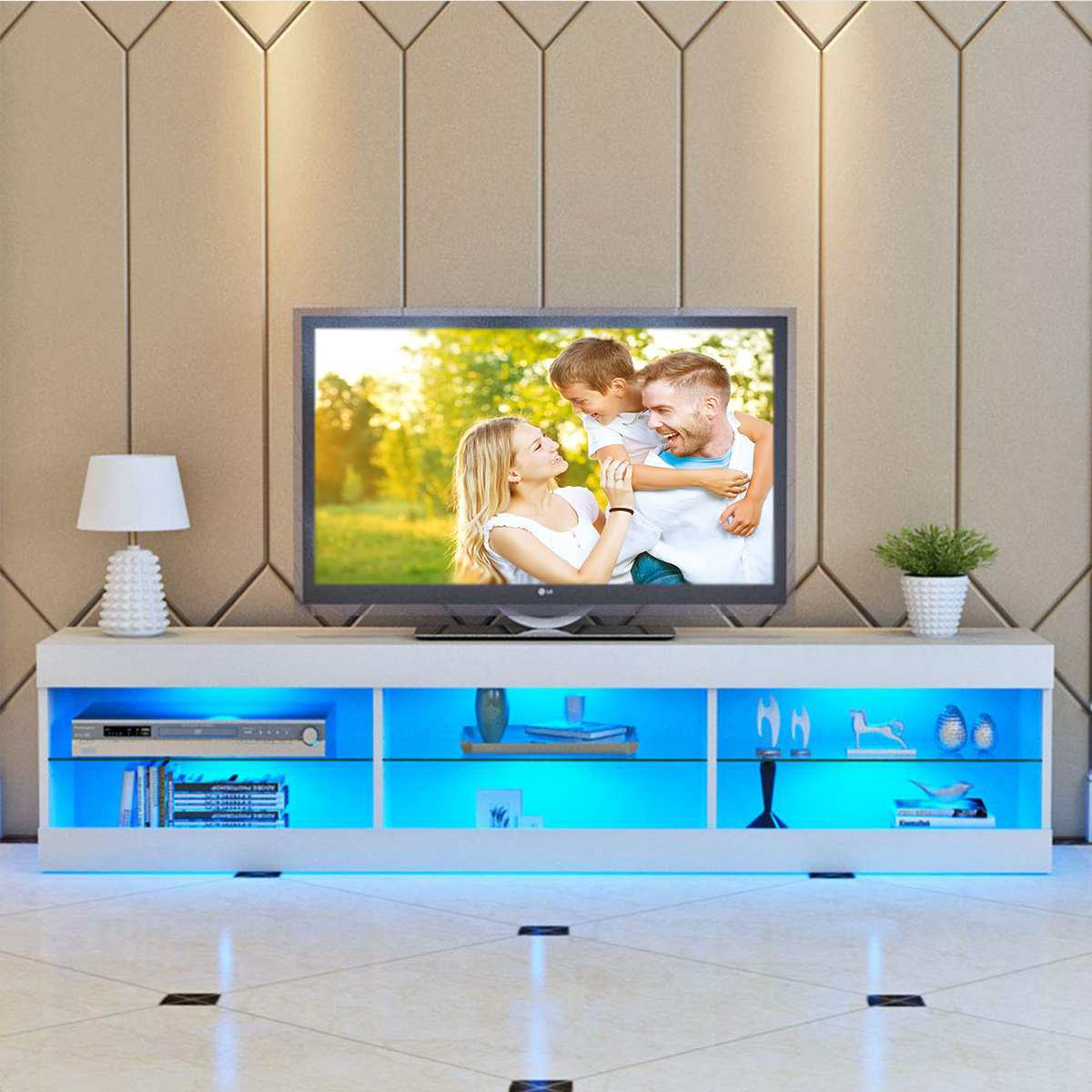 57'' Portable Detachable TV Stand Cabinet Console With LED Light Shelves For Living Room White Wood Black Table US Shipping