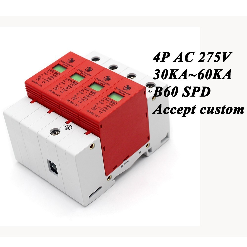 цена на B60-4P 30KA~60KA ~275V AC SPD House Surge Protector Protective Low-voltage Arrester Device 3P+N Lightning protection