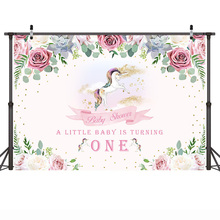 Mehofoto Newborn Baby Shower Photographic Backdrops White Horse and Colorful Flowers Background Props for Photo Shoot pastel pink color princess baby girl photo shoot background printed flowers newborn photography props kids portrait backdrops