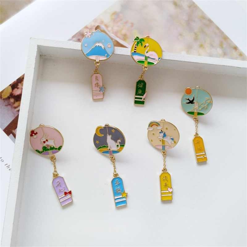 Cartoon alloy wind chime illustration enamel brooch fashion animal cat  bunny bottle button badge pins bag accessories jewelry