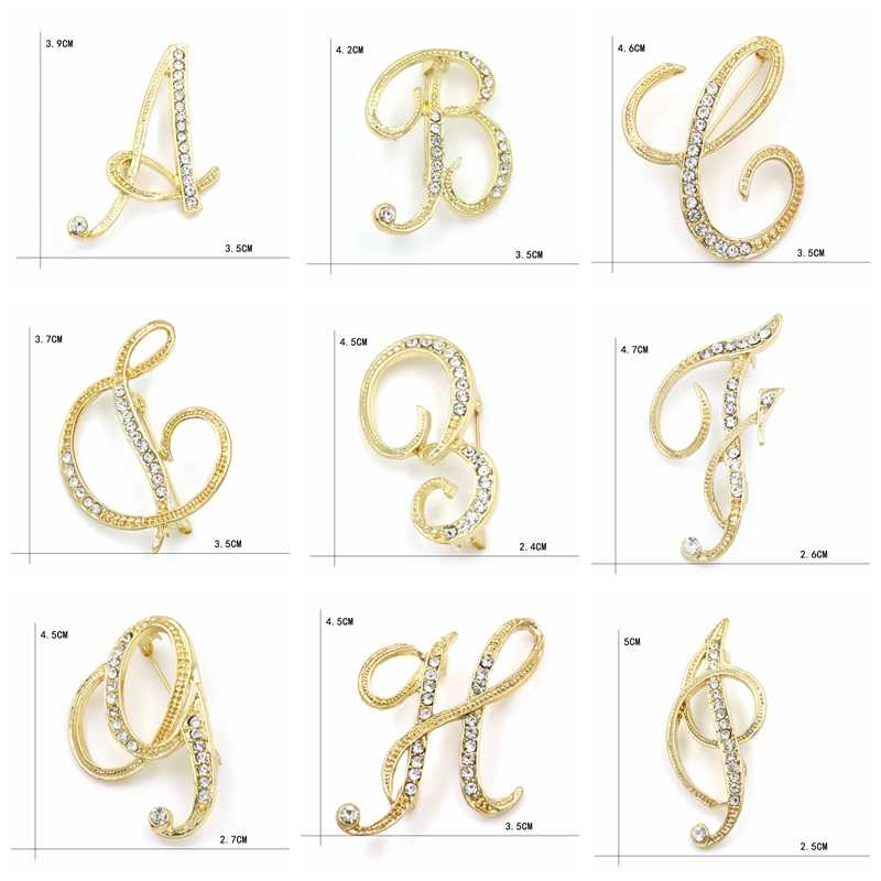 MEEDU New Design Clear Crystal Brooches Gold Color Initial Letter Brooch  A-Z Pins and Brooch Name cdcf891549b1