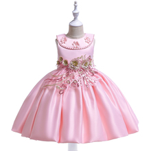Kids Girls Appliques Flowers Princess Dress for Thanksgiving Christmas Dress for Girls Children Clothes Ball Gown Birthday Dress girls floral flowers appliques ball gown dress children cute mesh net yarn birthday party princess dress kids dress clothes