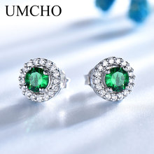 UMCHO Real 925 Sterling Silver Jewelry Created Nano Emerald Round Stud Earrings Vintage Anniversary For Women Birthday Gifts