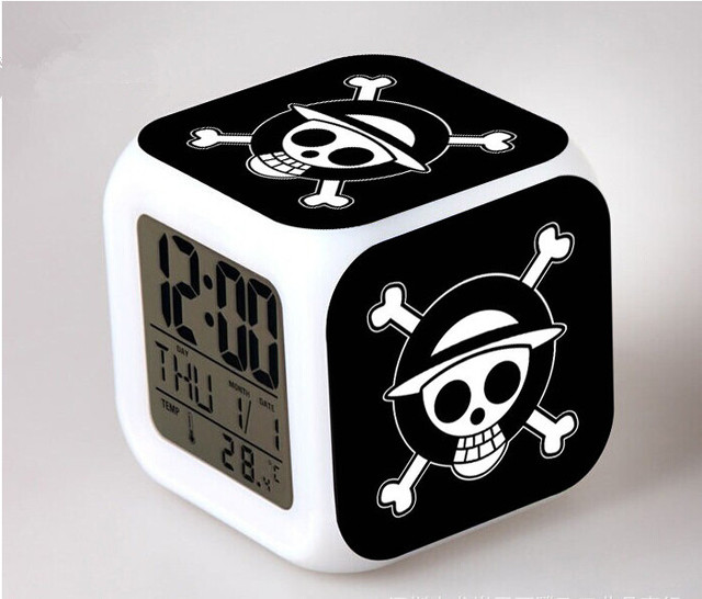 One Piece LED Night Light Luminaria Lamp Alarm Clock