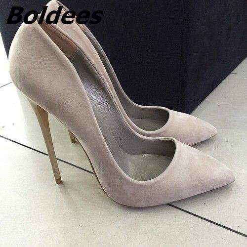 מכירת חמה זמש הבוהן מחודדת נעליים עקב גבוה להחליק על עקבי מחט נשים משאבות 2017 סתיו האביב אחת גודל 34-42