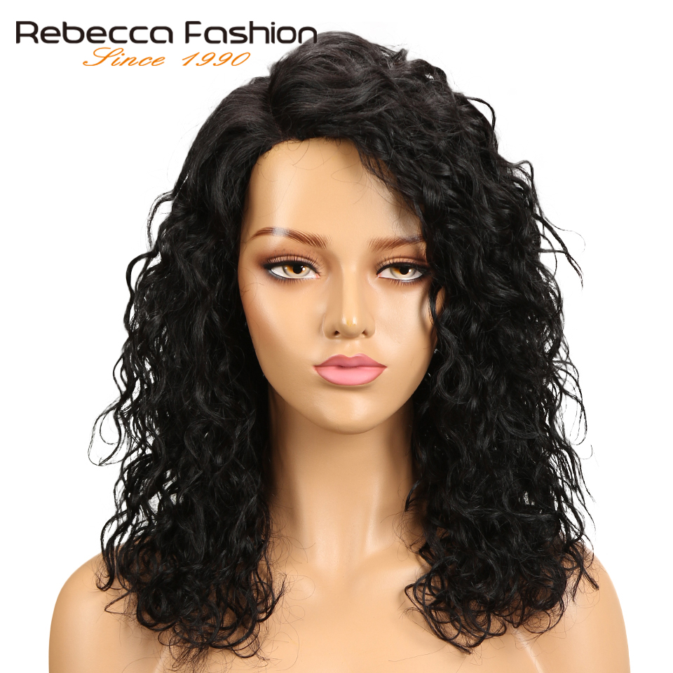 Rebecca Water Wave Human Hair Lace Wigs For Black Women L Part Peruvian Remy Hair Natural