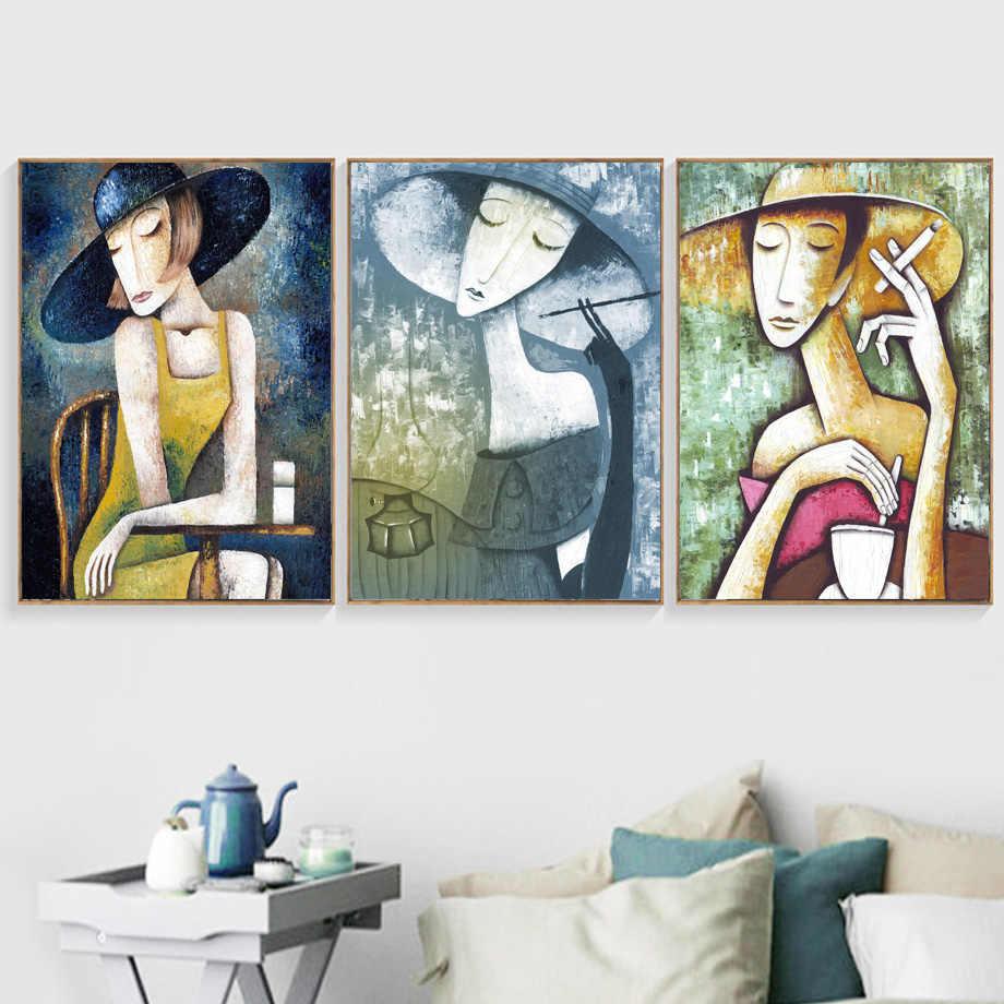 Abstrait fille Figure peinture à l'huile mur Art toile peinture Vintage nordique affiches et impressions mur photos pour salon décor