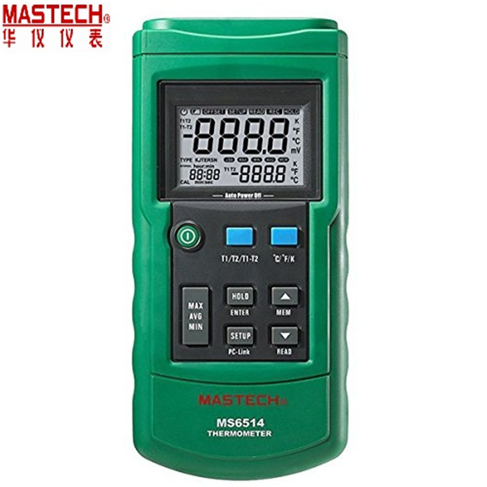 2018 Dual Channel Digital Thermometer Temperature Logger Tester USB Interface 1000 Sets Data KJTERSN Thermocouple MASTECH MS6514 ht 9815 digital k type thermocouple thermometer thermocouple probe sensor industrial temperature tester 200c 1372c dual channel